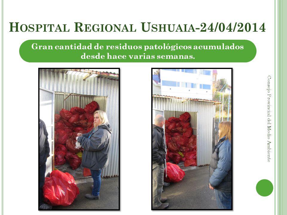 H OSPITAL R EGIONAL U SHUAIA -24/04/2014 Consejo Provincial del Medio Ambiente Gran cantidad de residuos patológicos acumulados desde hace varias sema