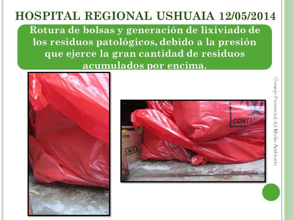 HOSPITAL REGIONAL USHUAIA 12/05/2014 Consejo Provincial del Medio Ambiente Rotura de bolsas y generación de lixiviado de los residuos patológicos, deb
