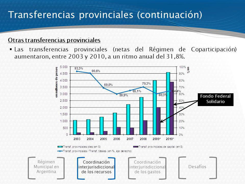 Las transferencias provinciales (netas del Régimen de Coparticipación) aumentaron, entre 2003 y 2010, a un ritmo anual del 31,8%. Otras transferencias