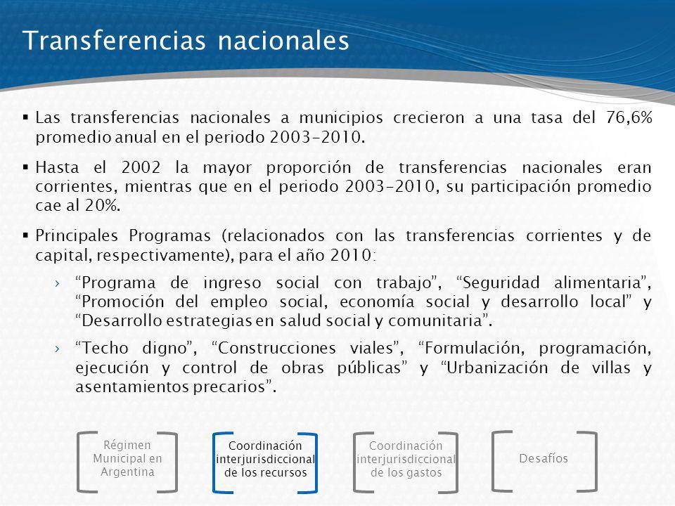 Las transferencias nacionales a municipios crecieron a una tasa del 76,6% promedio anual en el periodo 2003-2010. Hasta el 2002 la mayor proporción de