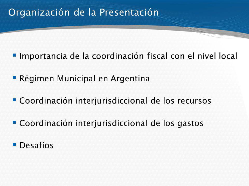 Organización de la Presentación Importancia de la coordinación fiscal con el nivel local Régimen Municipal en Argentina Coordinación interjurisdiccion
