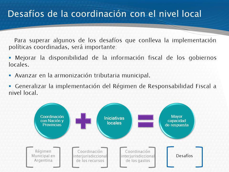 Desafíos de la coordinación con el nivel local Para superar algunos de los desafíos que conlleva la implementación políticas coordinadas, será importante: Mejorar la disponibilidad de la información fiscal de los gobiernos locales.