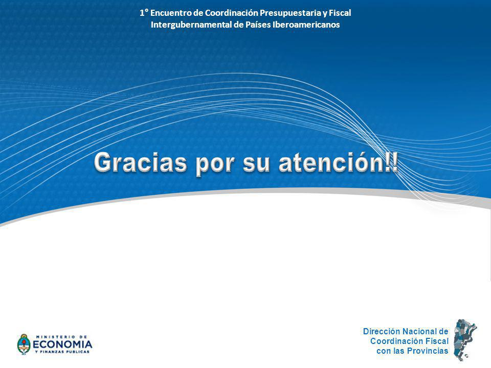 1° Encuentro de Coordinación Presupuestaria y Fiscal Intergubernamental de Países Iberoamericanos Dirección Nacional de Coordinación Fiscal con las Pr