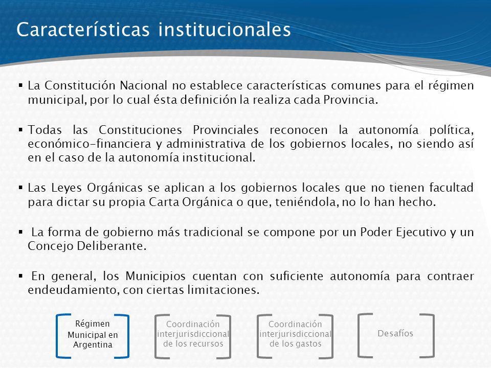 La evolución reciente, muestra un fuerte incremento en la participación del gasto municipal en el PIB: Importancia relativa del sector + 54% Suiza: 26 % Canadá: 10 % Brasil: 8 % Suiza: 26 % Canadá: 10 % Brasil: 8 % Coordinación interjurisdiccional de los recursos Régimen Municipal en Argentina Coordinación interjurisdiccional de los gastos Desafíos