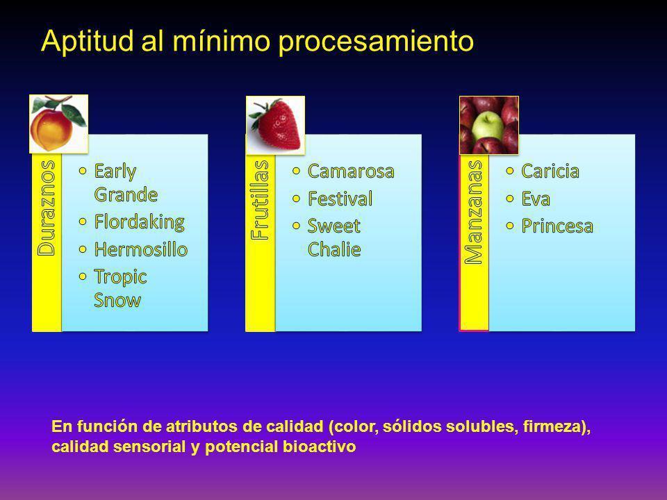 Aptitud al mínimo procesamiento En función de atributos de calidad (color, sólidos solubles, firmeza), calidad sensorial y potencial bioactivo