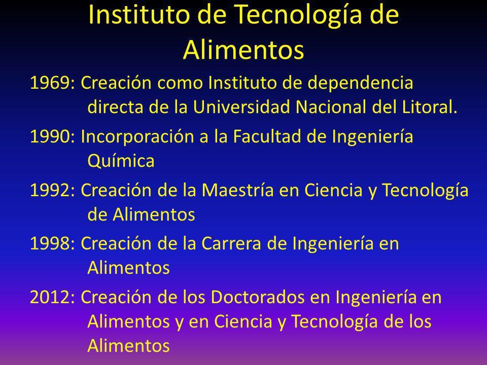 Instituto de Tecnología de Alimentos 1969: Creación como Instituto de dependencia directa de la Universidad Nacional del Litoral. 1990: Incorporación