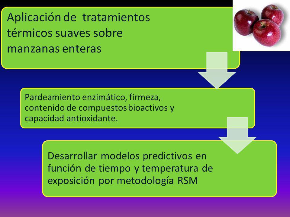 Aplicación de tratamientos térmicos suaves sobre manzanas enteras Pardeamiento enzimático, firmeza, contenido de compuestos bioactivos y capacidad antioxidante.