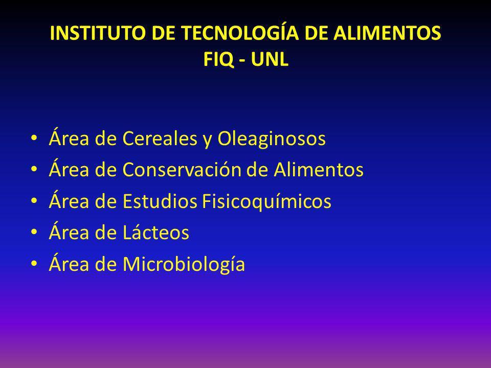 INSTITUTO DE TECNOLOGÍA DE ALIMENTOS FIQ - UNL Área de Cereales y Oleaginosos Área de Conservación de Alimentos Área de Estudios Fisicoquímicos Área de Lácteos Área de Microbiología