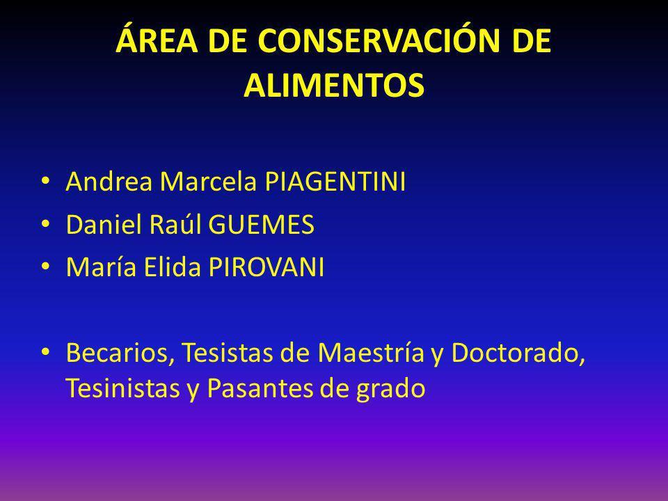 ÁREA DE CONSERVACIÓN DE ALIMENTOS Andrea Marcela PIAGENTINI Daniel Raúl GUEMES María Elida PIROVANI Becarios, Tesistas de Maestría y Doctorado, Tesini