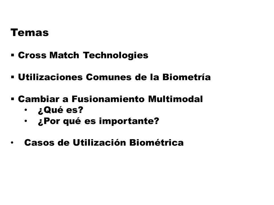 2 Temas Cross Match Technologies Utilizaciones Comunes de la Biometría Cambiar a Fusionamiento Multimodal ¿Qué es.
