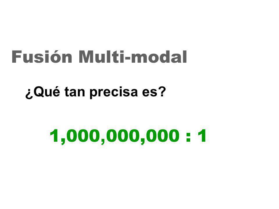 26 1,000, 000,000 : 1 Fusión Multi-modal ¿Qué tan precisa es