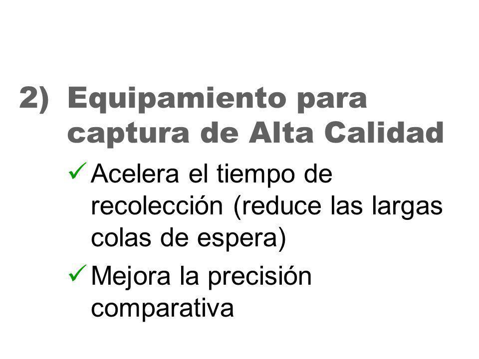 28 2)Equipamiento para captura de Alta Calidad Acelera el tiempo de recolección (reduce las largas colas de espera) Mejora la precisión comparativa