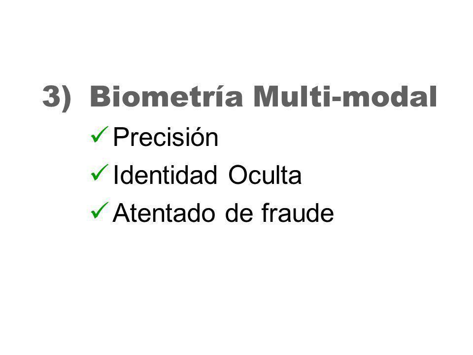 29 3)Biometría Multi-modal Precisión Identidad Oculta Atentado de fraude
