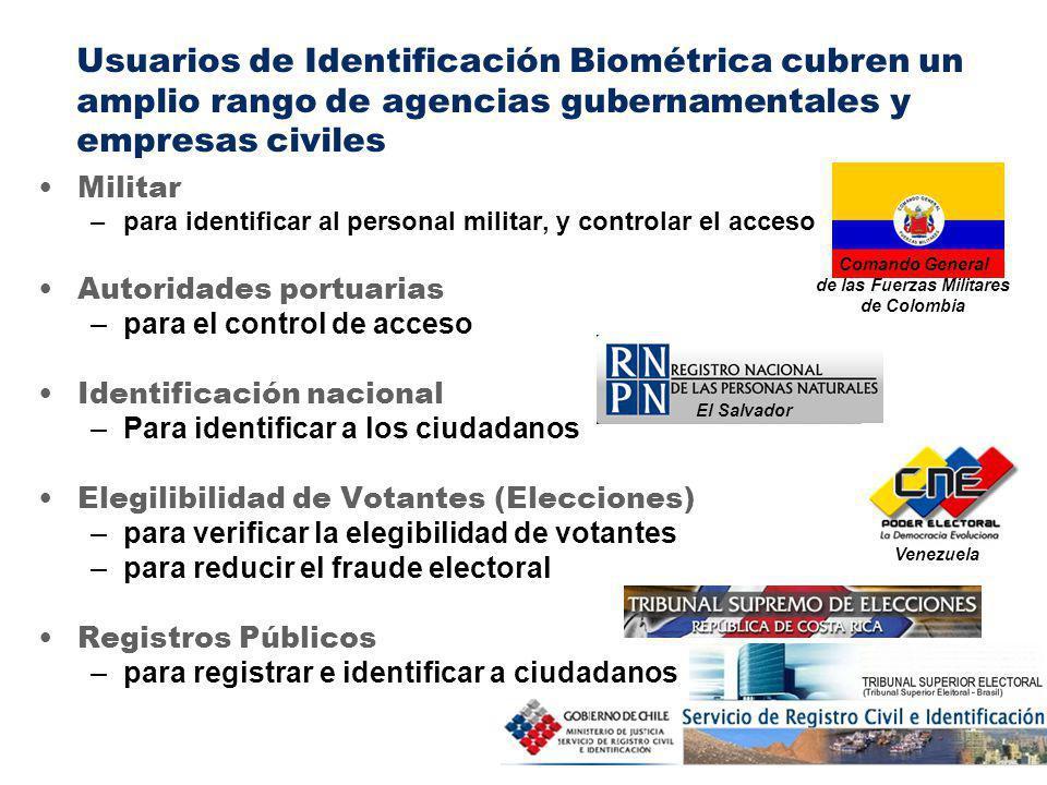 7 Militar –para identificar al personal militar, y controlar el acceso Autoridades portuarias –para el control de acceso Identificación nacional –Para identificar a los ciudadanos Elegilibilidad de Votantes (Elecciones) –para verificar la elegibilidad de votantes –para reducir el fraude electoral Registros Públicos –para registrar e identificar a ciudadanos Comando General de las Fuerzas Militares de Colombia El Salvador Venezuela Usuarios de Identificación Biométrica cubren un amplio rango de agencias gubernamentales y empresas civiles