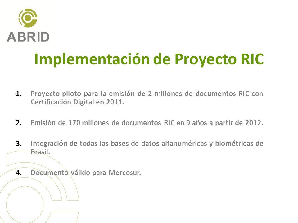 Implementación de Proyecto RIC 1.Proyecto piloto para la emisión de 2 millones de documentos RIC con Certificación Digital en 2011. 2.Emisión de 170 m