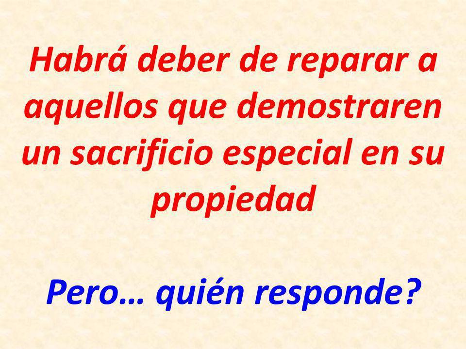 Habrá deber de reparar a aquellos que demostraren un sacrificio especial en su propiedad Pero… quién responde
