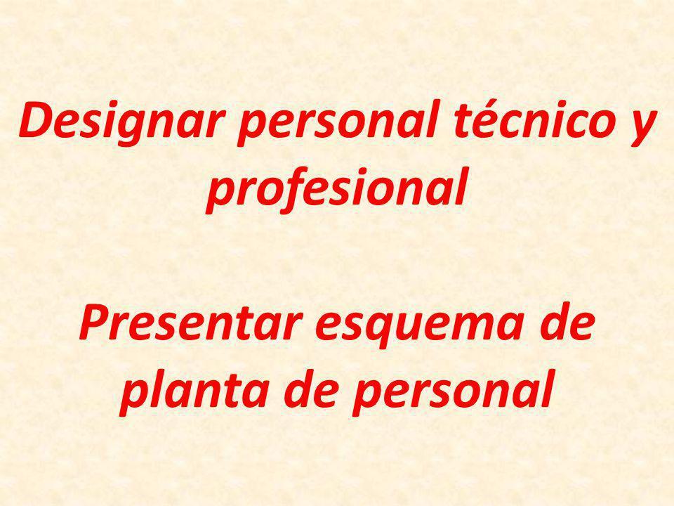 Designar personal técnico y profesional Presentar esquema de planta de personal