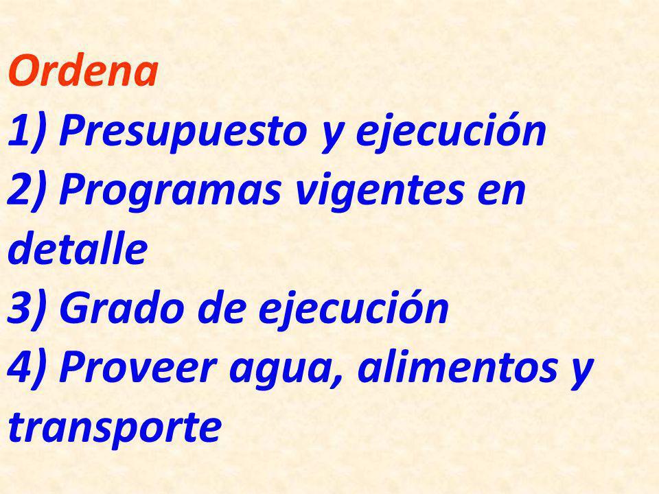 Ordena 1) Presupuesto y ejecución 2) Programas vigentes en detalle 3) Grado de ejecución 4) Proveer agua, alimentos y transporte