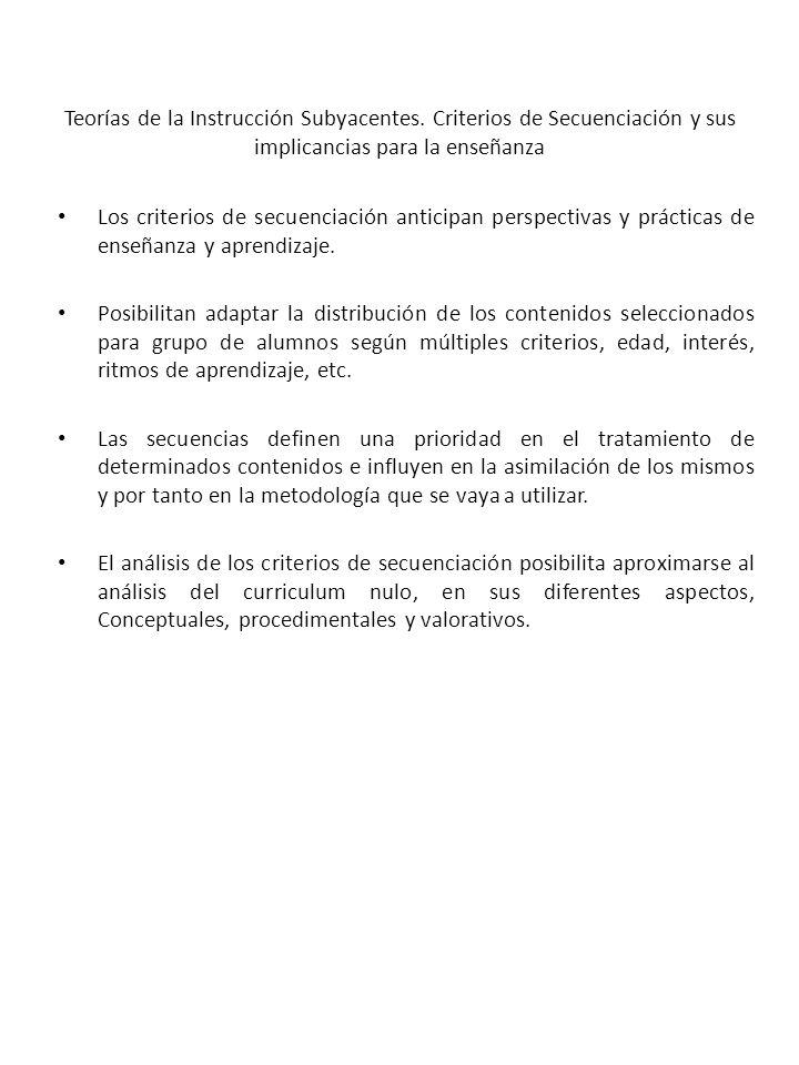 Teorías de la Instrucción Subyacentes. Criterios de Secuenciación y sus implicancias para la enseñanza Los criterios de secuenciación anticipan perspe