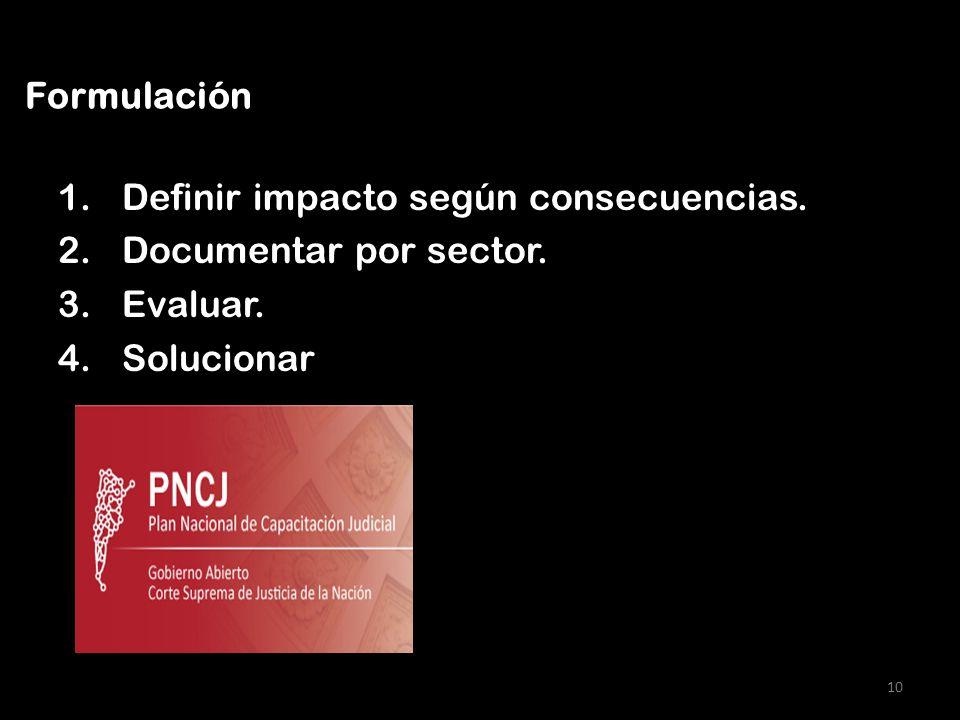 1.Definir impacto según consecuencias. 2.Documentar por sector. 3.Evaluar. 4.Solucionar 10 Formulación