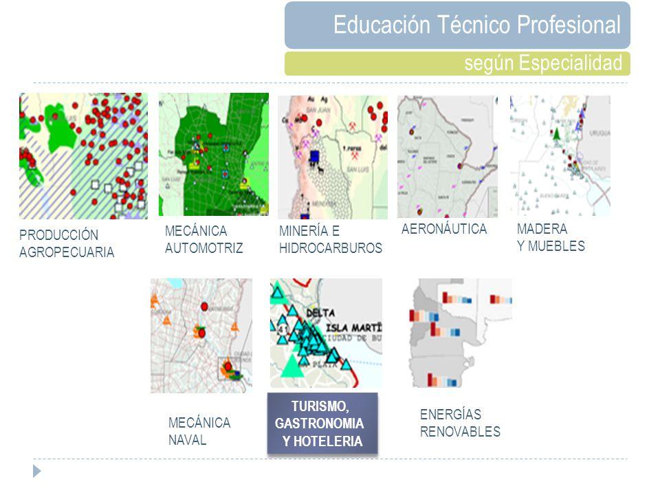 PRODUCCIÓN AGROPECUARIA MECÁNICA AUTOMOTRIZ MINERÍA E HIDROCARBUROS AERONÁUTICA MADERA Y MUEBLES MECÁNICA NAVAL ENERGÍAS RENOVABLES TURISMO, GASTRONOMIA Y HOTELERIA TURISMO, GASTRONOMIA Y HOTELERIA Educación Técnico Profesional según Especialidad
