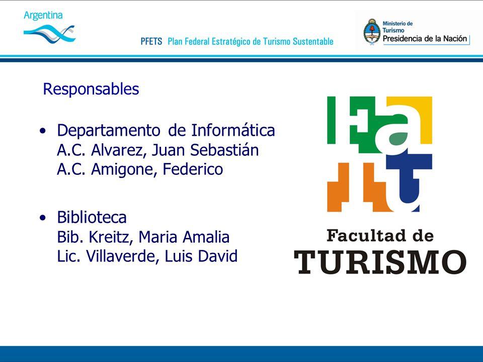 Responsables Departamento de Informática A.C. Alvarez, Juan Sebastián A.C. Amigone, Federico Biblioteca Bib. Kreitz, Maria Amalia Lic. Villaverde, Lui