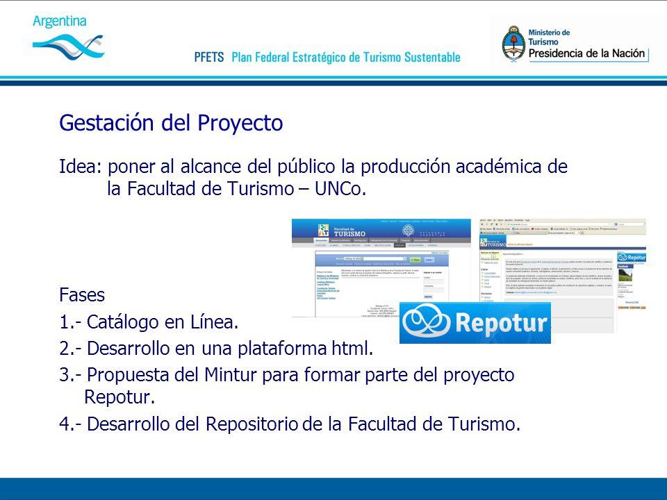 Gestación del Proyecto Idea: poner al alcance del público la producción académica de la Facultad de Turismo – UNCo. Fases 1.- Catálogo en Línea. 2.- D