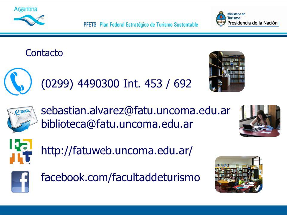 Contacto (0299) 4490300 Int. 453 / 692 sebastian.alvarez@fatu.uncoma.edu.ar biblioteca@fatu.uncoma.edu.ar http://fatuweb.uncoma.edu.ar/ facebook.com/f