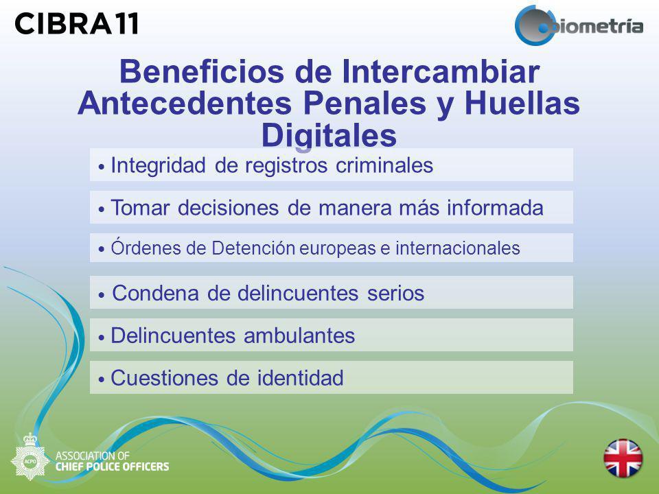 Beneficios de Intercambiar Antecedentes Penales y Huellas Digitales Tomar decisiones de manera más informada Integridad de registros criminales Órdenes de Detención europeas e internacionales Condena de delincuentes serios Delincuentes ambulantes Cuestiones de identidad