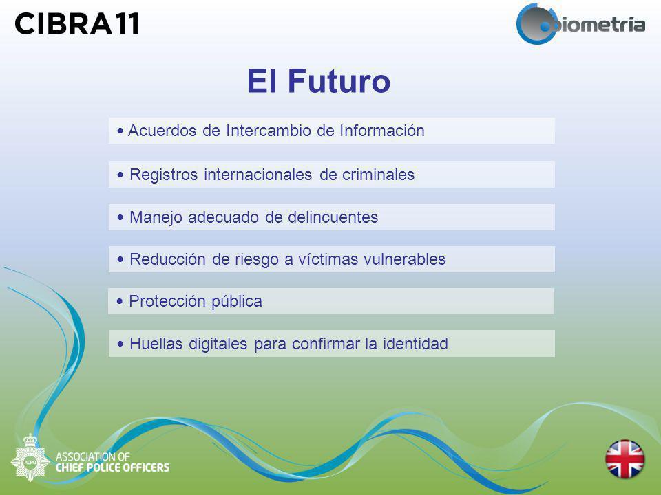El Futuro Acuerdos de Intercambio de Información Protección pública Reducción de riesgo a víctimas vulnerables Manejo adecuado de delincuentes Registros internacionales de criminales Huellas digitales para confirmar la identidad