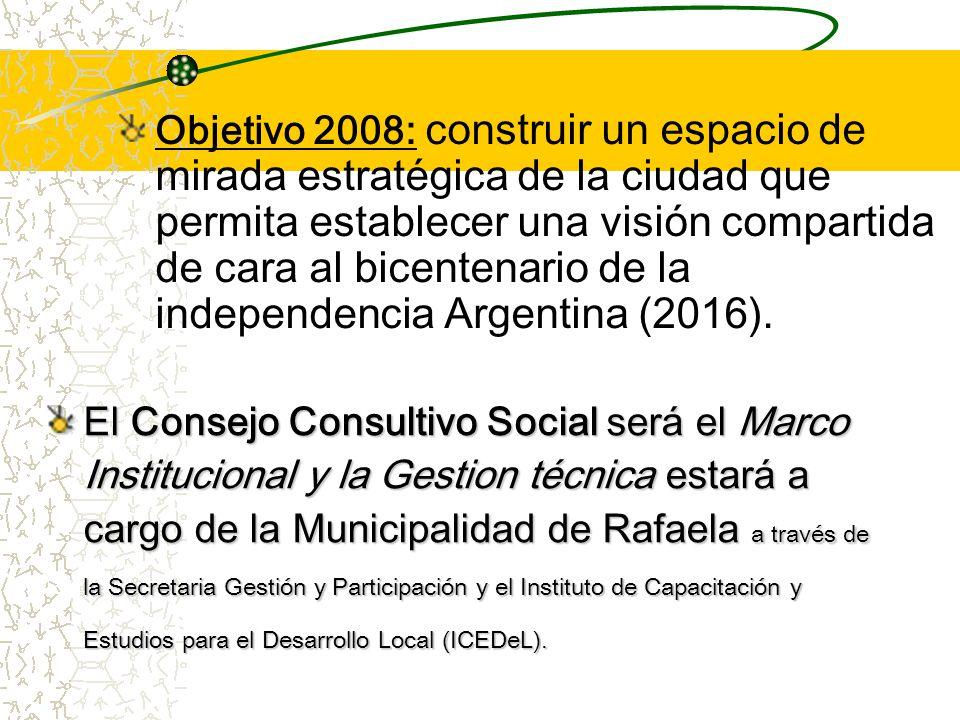 Objetivo 2008: construir un espacio de mirada estratégica de la ciudad que permita establecer una visión compartida de cara al bicentenario de la independencia Argentina (2016).