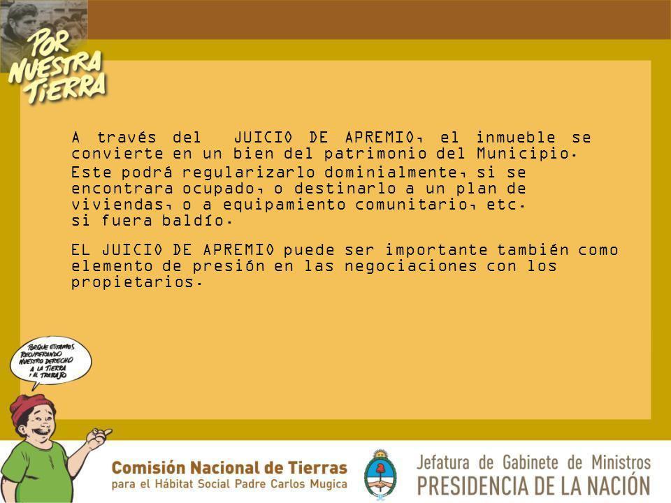 A través del JUICIO DE APREMIO, el inmueble se convierte en un bien del patrimonio del Municipio. Este podrá regularizarlo dominialmente, si se encont