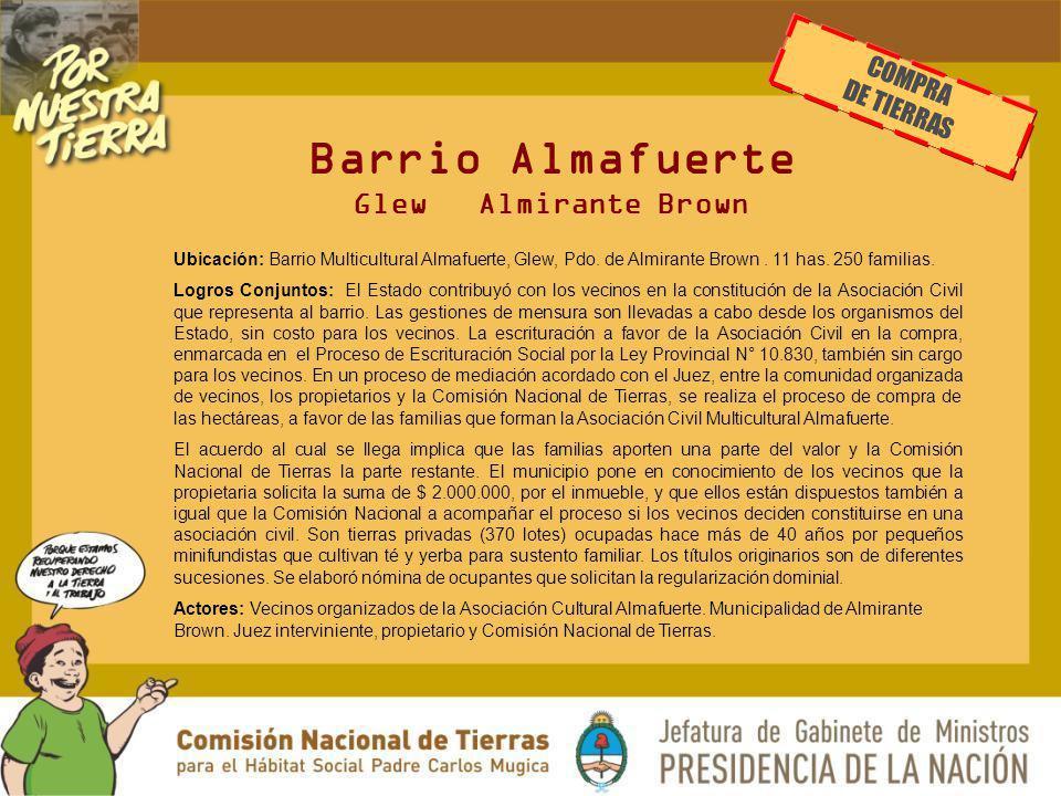 Barrio Almafuerte Glew Almirante Brown Ubicación: Barrio Multicultural Almafuerte, Glew, Pdo. de Almirante Brown. 11 has. 250 familias. Logros Conjunt