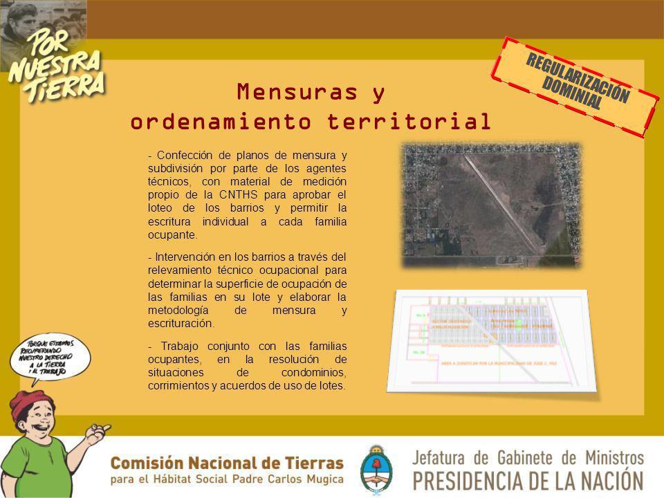 Mensuras y ordenamiento territorial - Confección de planos de mensura y subdivisión por parte de los agentes técnicos, con material de medición propio