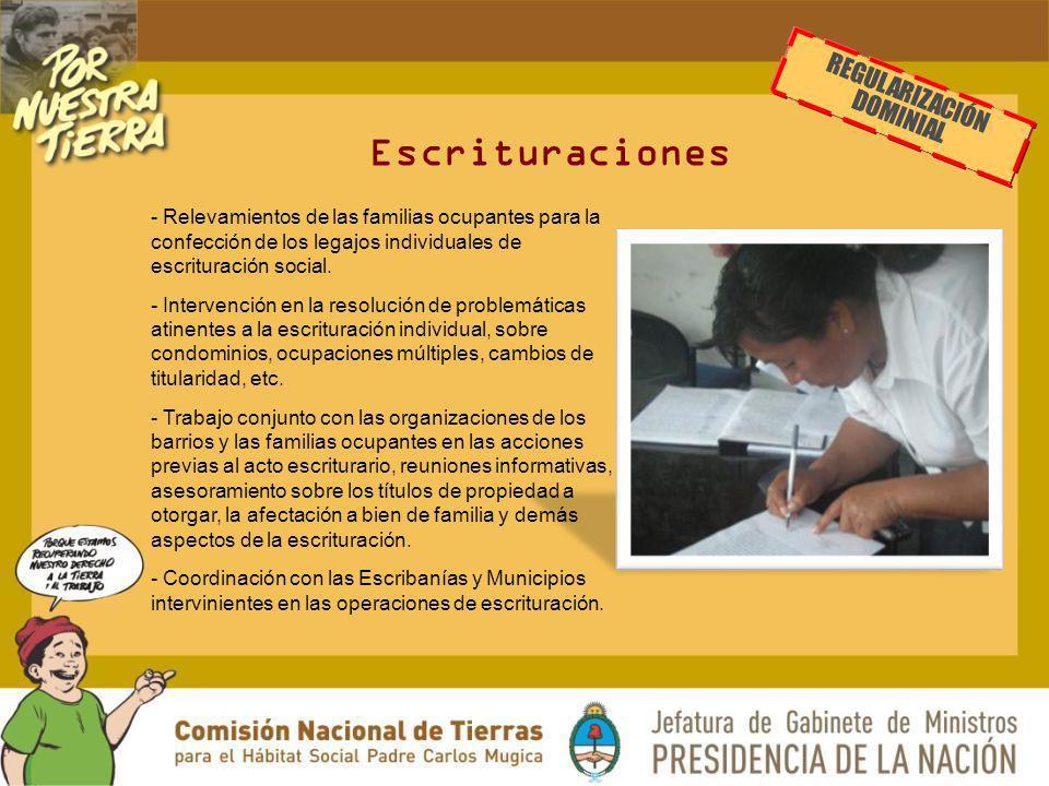 Escrituraciones - Relevamientos de las familias ocupantes para la confección de los legajos individuales de escrituración social. - Intervención en la