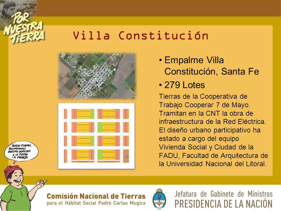 Villa Constitución Empalme Villa Constitución, Santa Fe 279 Lotes Tierras de la Cooperativa de Trabajo Cooperar 7 de Mayo. Tramitan en la CNT la obra