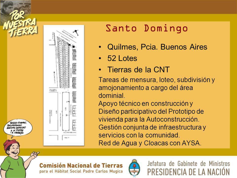 Santo Domingo Quilmes, Pcia. Buenos Aires 52 Lotes Tierras de la CNT Tareas de mensura, loteo, subdivisión y amojonamiento a cargo del área dominial.