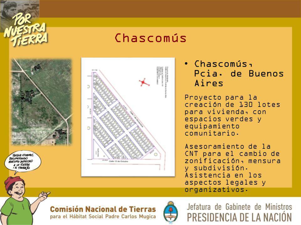 Chascomús Chascomús, Pcia. de Buenos Aires Proyecto para la creación de 130 lotes para vivienda, con espacios verdes y equipamiento comunitario. Aseso