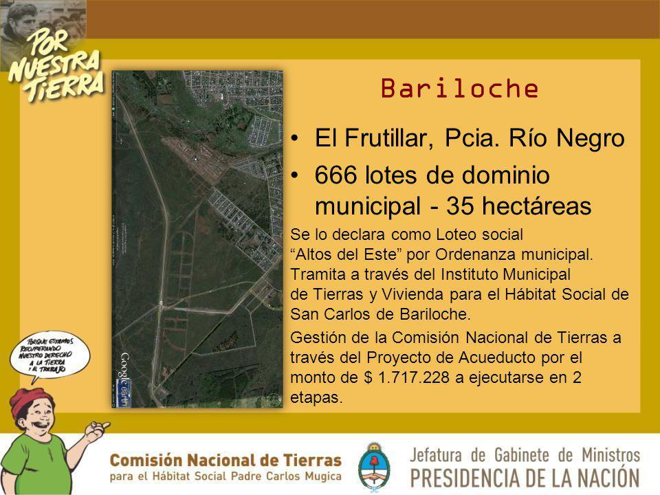 Bariloche El Frutillar, Pcia. Río Negro 666 lotes de dominio municipal - 35 hectáreas Se lo declara como Loteo social Altos del Este por Ordenanza mun