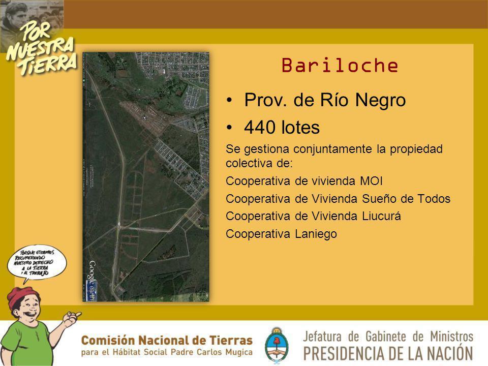 Prov. de Río Negro 440 lotes Se gestiona conjuntamente la propiedad colectiva de: Cooperativa de vivienda MOI Cooperativa de Vivienda Sueño de Todos C