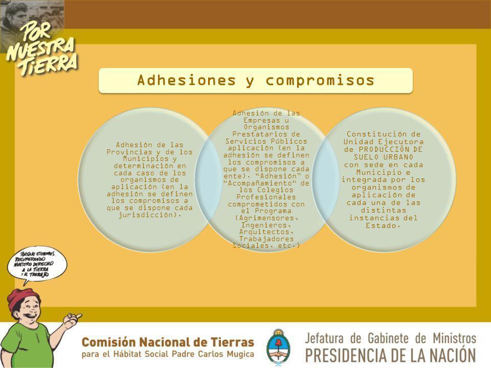 Adhesión de las Provincias y de los Municipios y determinación en cada caso de los organismos de aplicación (en la adhesión se definen los compromisos