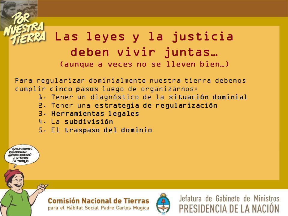 Las leyes y la justicia deben vivir juntas… (aunque a veces no se lleven bien…) Para regularizar dominialmente nuestra tierra debemos cumplir cinco pa