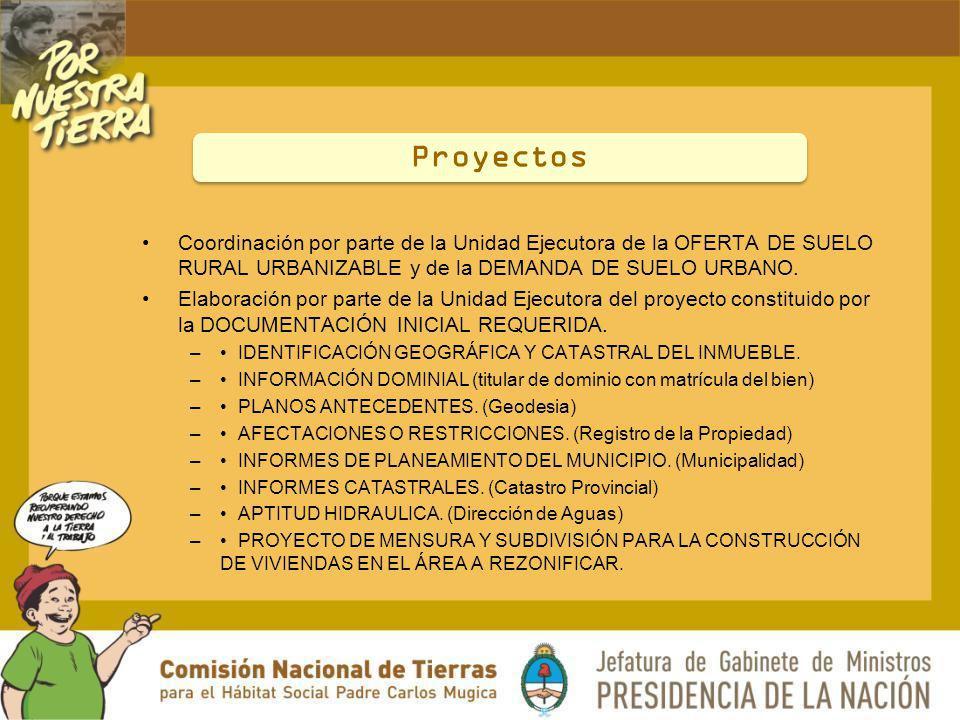 Coordinación por parte de la Unidad Ejecutora de la OFERTA DE SUELO RURAL URBANIZABLE y de la DEMANDA DE SUELO URBANO. Elaboración por parte de la Uni