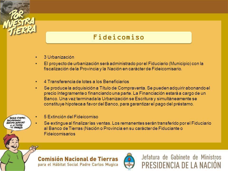 3 Urbanización El proyecto de urbanización será administrado por el Fiduciario (Municipio) con la fiscalización de la Provincia y la Nación en carácte