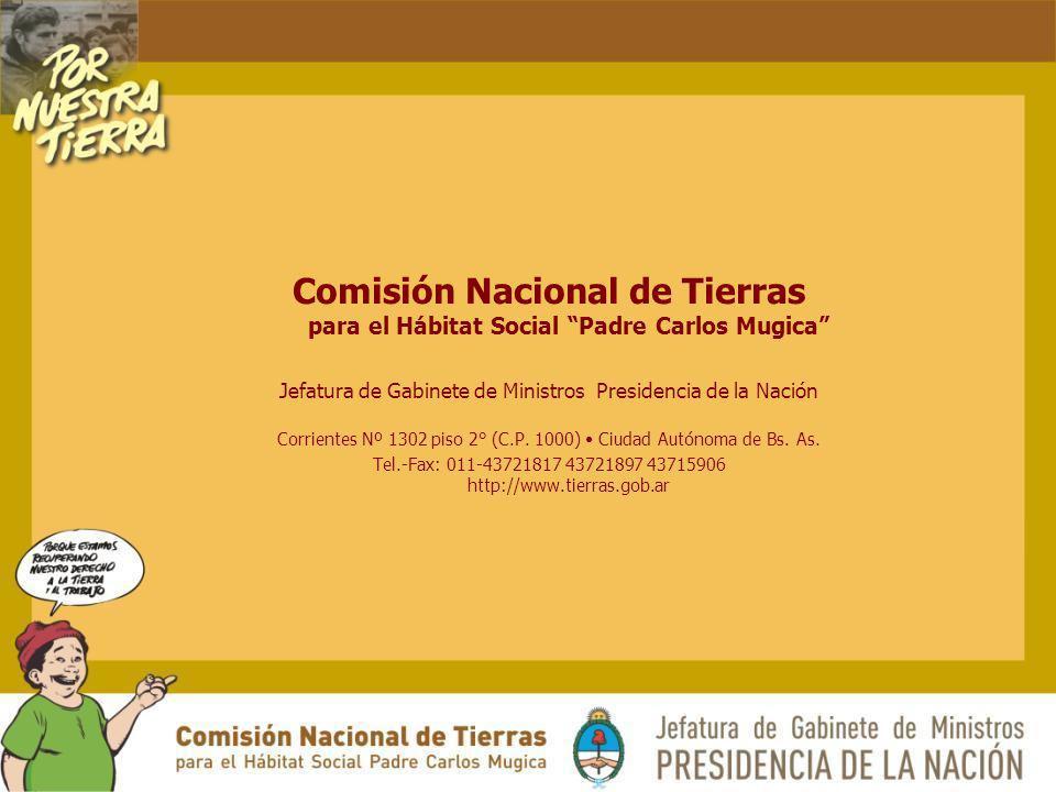 Comisión Nacional de Tierras para el Hábitat Social Padre Carlos Mugica Jefatura de Gabinete de Ministros Presidencia de la Nación Corrientes Nº 1302