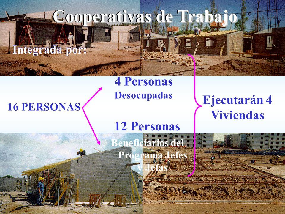 Cooperativas de Trabajo Integrada por: 12 Personas Beneficiarios del Programa Jefes y Jefas Ejecutarán 4 Viviendas 4 Personas Desocupadas 16 PERSONAS Integrada por: Cooperativas de Trabajo