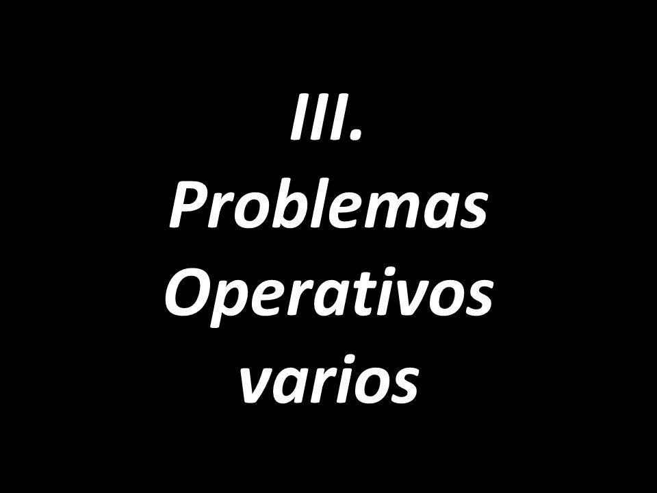 III. Problemas Operativos varios