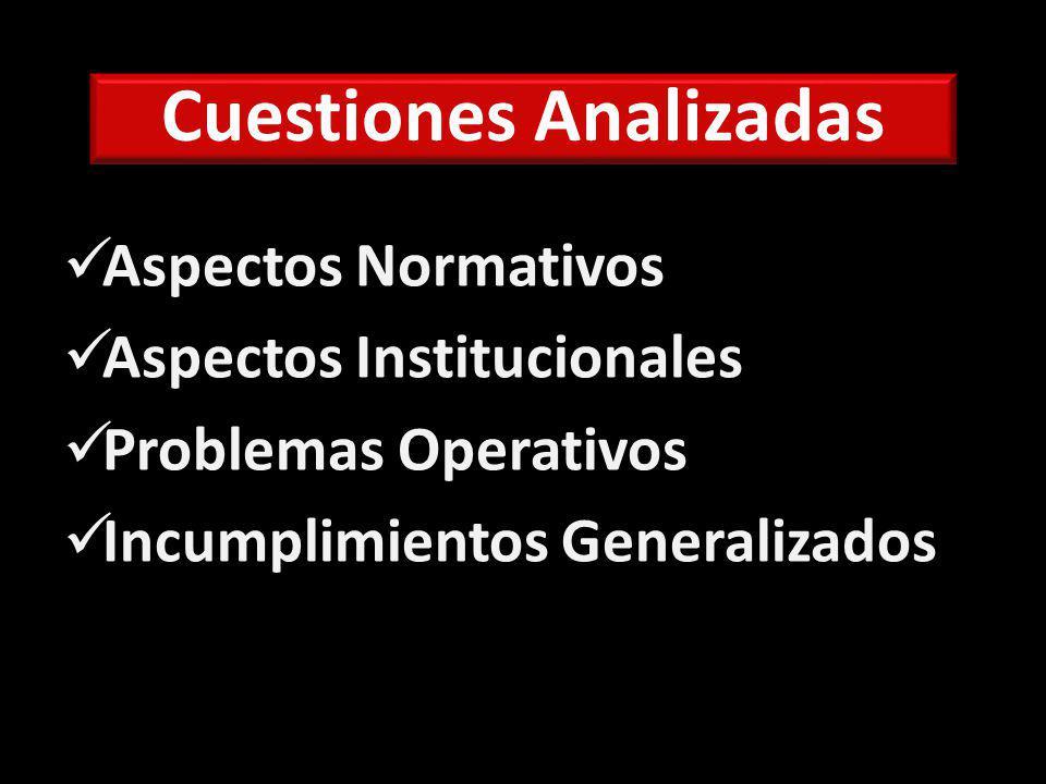 Cuestiones Analizadas Aspectos Normativos Aspectos Institucionales Problemas Operativos Incumplimientos Generalizados