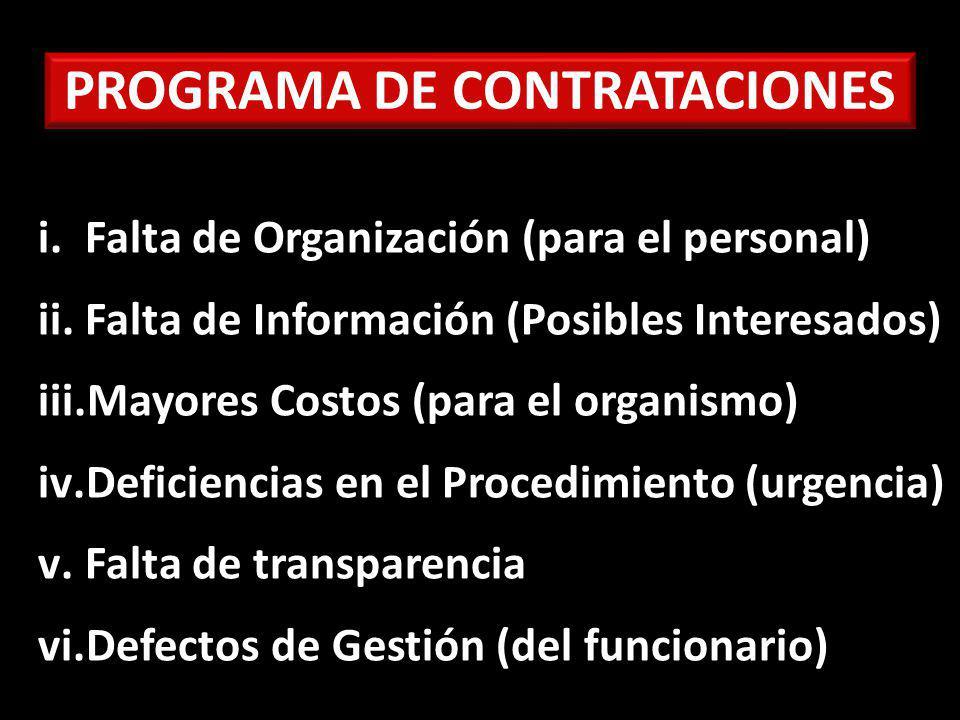PROGRAMA DE CONTRATACIONES i.Falta de Organización (para el personal) ii.Falta de Información (Posibles Interesados) iii.Mayores Costos (para el organismo) iv.Deficiencias en el Procedimiento (urgencia) v.Falta de transparencia vi.Defectos de Gestión (del funcionario)