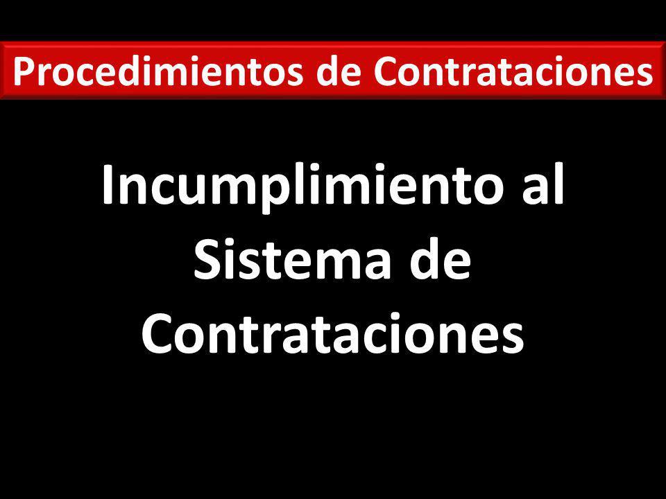 Procedimientos de Contrataciones Incumplimiento al Sistema de Contrataciones